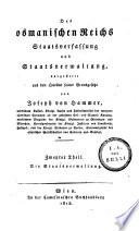 Des osmanischen Reichs Staatsverfassung und Staatsverwaltung