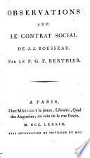Observations Sur Le Contrat Social De J J Rousseau