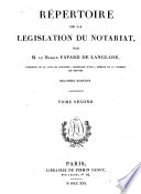Repertoire de la l  gislation du notariat