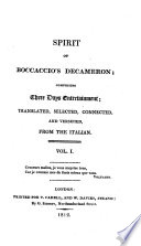 Spirit of Boccaccio s Decameron  comprising three days entertainment  tr   and versified  from the Italian