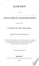 Report of the Penal Code of Massachusetts
