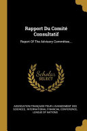 Rapport Du Comit Consultatif Report Of The Advisory Committee