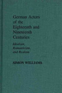 German Actors of the Eighteenth and Nineteenth Centuries