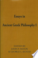 Essays in Ancient Greek Philosophy I
