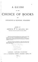 A Guide to the Choice of Books for Students   General Readers