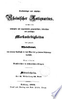Denkwürdiger und nützlicher RheinischerAntiquarius. Von einem Nachforscher in historischen Dingen (C. von Stramberg).