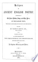 Reliques Of Ancient English Poetry book