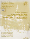 Summaries of Conclusions and Recommendations on Department of Defense Operations