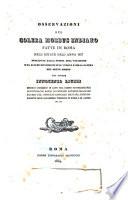 Osservazioni sul colera morbus indiano fatte in Roma nell'estate dell'anno 1837 precedute dalla storia dell'invasione e da alcune riflessioni sull'indole e sulla natura del detto morbo