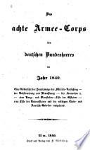 Das Achte armee-corps des deutschen Bunde-sheeres im jahr 1840