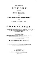 download ebook the seventh report from the select committee of the house of assembly of upper canada on grievances pdf epub