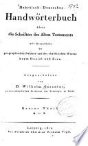Hebräisch-deutsches Handwörterbuch über die Schriften des Alten Testaments
