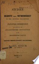Studien zum Begriffe der Notwendigkeit in der neueren Philosophie