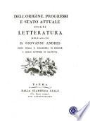 Dell Origine  Progessi E Stato Attuale D Ogni Letteratura Dell Abate