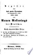 Register über das zweite decennium (die jahrgänge XI-XX.) 1833-1842 ...