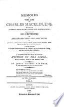 Memoirs of the Life of Charles Macklin