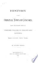 History of the Original Town of Concord
