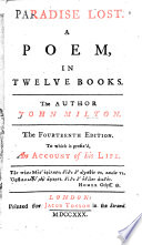 Paradise Lost ... The author John Milton. The fourteenth edition, to which is prefix'd an Account of his life [by Elijah Fenton. With engraved plates]. MS. notes