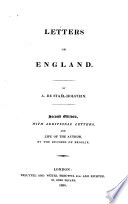 Letters On England : ...