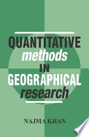 Quantitative Methods In Geographical Research book