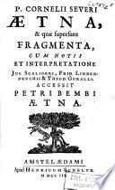 Aetna  et quae supersunt fragmenta