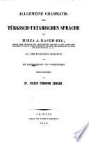 Allgemeine Grammatik Der T  rkisch tatarischen Sprache