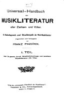 Universal Handbuch der Musikliteratur aller Zeiten und V  lker