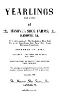 Yearlings At The Hanover Shoe Farms Inc book