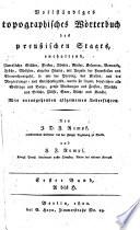 Vollständiges topographisches Wörterbuch des preußischen Staats