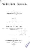 Works Of The Cavendish Society Lehmann K G Physiological Chemistry 3 V Atlas 1851 54