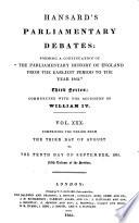 HANSARDS PARLIAMENTARY DEBATES  VOL XXX  SEPTEMBER 1835