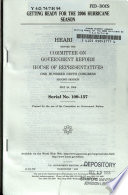 Getting Ready for The 2006 Hurricane Season  Serial No  109 157  May 24  2006  109 2 Hearing    Book PDF