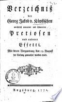Verzeichniss der Georg Jakob von Köpffischen gerichtlich inventiert und ästimierten Pretiosen und anderer Effetti