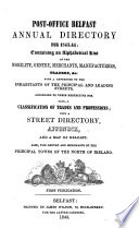 Post Office Belfast Annual Directory for 1843 44