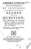 Observations historiques et critiques sur une brochure ayant pour titre : Examen de la question, si les décimateurs ont l'intention fondée en droit à la perception de la dîme des fruits insolites en Flandre?