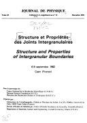 Structure Et Propriétés Des Joints Intergranulaires