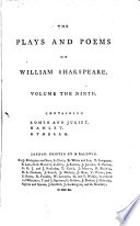 The Plays and Poems of William Shakspeare  Romeo and Juliet  Hamlet  Othello