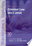 Blackstone s Statutes on Criminal Law 2017 2018