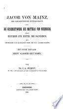 Jacob von Mainz, der zeitgenössische Historiograph, und das Geschichtswerk des Matthias von Neuenburg