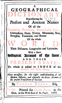 download ebook a geographical dictionary, representing the present and ancient names of all the countries, provinces, remarkable cities ... pdf epub