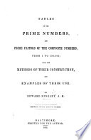 Tables of the prime numbers and prime factors of the composite numbers from 1 to 100 000  With the methods of their construction and examples of their use