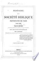 Histoire de la Société biblique protestante de Paris (1818 à 1868)