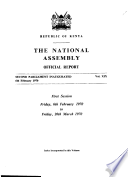 Kenya National Assembly Official Record (Hansard) Council Of The Colony And