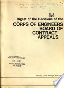 Digest of the Decisions of the Corps of Engineers Board of Contract Appeals  January 1946 Through June 1972 Book PDF