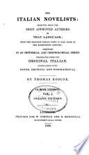 Novelle antiche  Novels of Boccaccio  Novels of Sacchetti  Novels of Ser Giovanni Fiorentino  Novels of Massuccio Salernitano