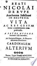 Epistola de inedia B  Nicolai de Flue
