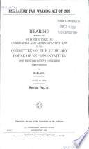 Regulatory Fair Warning Act of 1999 Book PDF