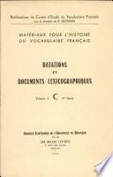 Datations et documents lexicographiques Vol 3