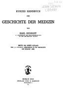 Kurzes Handbuch der Geschichte der Medizin