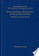 Die orientalischen Handschriften der Burgerbibliothek Bern